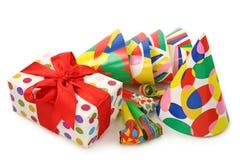 Geschenkkasten- und -partyhüte Stockbild