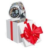 Geschenkkonzept, Männer ` s analog-digitale Armbanduhr innerhalb der Geschenkbox lizenzfreie abbildung