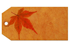 Geschenkmarke mit Ahornblatt Lizenzfreies Stockfoto
