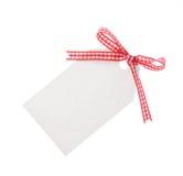 Geschenkmarke mit rotem Farbband (Ausschnitts-Pfad eingeschlossen) Lizenzfreie Stockbilder