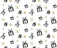 Geschenkmuster, nahtlose Beschaffenheit mit Hand gezeichneten Illustrationen von Präsentkartons Vektorgeschenkhintergrund Lizenzfreies Stockfoto