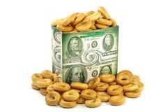 Geschenkpaket mit Dollar Stockbilder