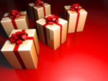 Geschenks mit Überraschung auf Rot stock abbildung