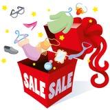 Geschenkverpackungskasten mit Bogenaufschriftverkaufspreisen und Gegenständen von verschiedenen Waren moderne Kleidung, Schuhe, Z Stockbild