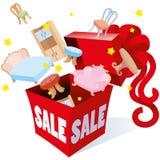 Geschenkverpackungskasten mit Bogenaufschriftverkaufspreisen und Gegenständen von verschiedenen Wareneinrichtungsgegenständen für Lizenzfreie Stockfotos