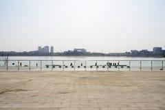 Geschermde flagstone bedekte grond bij oever van het meer in de zonnige aftern winter stock foto