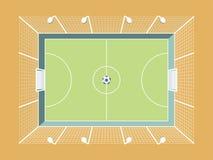 Geschermde Voetbal/Voetbalhoogte met Verlichting en Netto Het Gebied van de stadssport vector illustratie