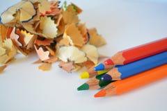 Gescherpte kleurpotloden Royalty-vrije Stock Afbeeldingen