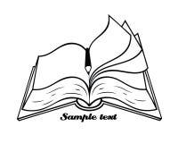 Geschetst geïsoleerde boek met potlood vector illustratie