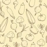 Geschetst groenten naadloos patroon Royalty-vrije Stock Foto's