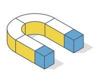 Geschetst magneetsymbool in isometrisch perspectief royalty-vrije illustratie