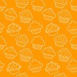 Geschetst naadloos cupcakes Stock Foto's