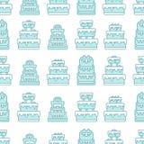 Geschetst Naadloos Patroon met Cakes Stock Illustratie