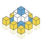 Geschetst voorwerp in vorm van piramide Abstracte kubus vectorvorm Royalty-vrije Illustratie