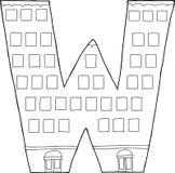 Geschetst w-Hotel Buidling Royalty-vrije Stock Afbeeldingen