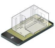 Geschetste badkamers met houten vloer in mobiele telefoon Bijlage van de draad de isometrische douche royalty-vrije illustratie
