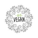 Geschetste Ganhand logotype, het malplaatje van het bladetiket voor het pakketontwerp van het veganistvoedsel kroon, krabbel, ron royalty-vrije illustratie