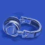 Geschetste hoofdtelefoons Royalty-vrije Stock Afbeelding