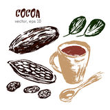 Geschetste illustratie van cacaoboon Stock Fotografie