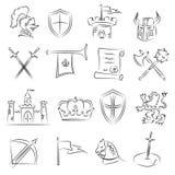 Geschetste Middeleeuwse Geplaatste Pictogrammen Stock Afbeeldingen