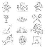 Geschetste Middeleeuwse Geplaatste Pictogrammen Stock Foto