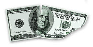 Gescheurd bankbiljet van 100 dollars van de V.S. Royalty-vrije Stock Foto's