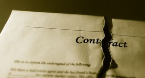Gescheurd Contract Stock Foto's