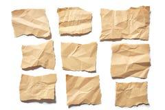 Gescheurd of gescheurde inzamelings echt pakpapier stukken van document op witte achtergrond Royalty-vrije Stock Fotografie