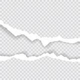 Gescheurde document randen, naadloze die horizontaal textuur Als achtergrond, vector in ruimte voor reclame, banner wordt geïsole Royalty-vrije Stock Foto's