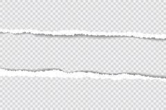 Gescheurde document randen, naadloze die horizontaal textuur Als achtergrond, vector in ruimte voor reclame, banner wordt geïsole Royalty-vrije Stock Fotografie