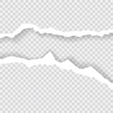 Gescheurde document randen, naadloze die horizontaal textuur Als achtergrond, vector in ruimte voor reclame, banner wordt geïsole Stock Afbeeldingen