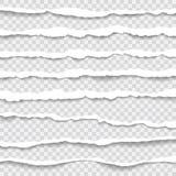 Gescheurde document randen, naadloze die horizontaal textuur, vector in ruimte voor reclame, banner wordt geïsoleerd van Web-pagi Stock Afbeeldingen