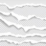 Gescheurde document randen, naadloze die horizontaal textuur, vector in ruimte voor reclame, banner wordt geïsoleerd van Web-pagi Stock Fotografie