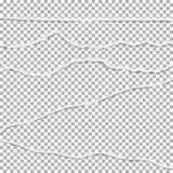 Gescheurde document vectorinzameling Gebroken document met gescheurde randen, gescheurde banner royalty-vrije illustratie