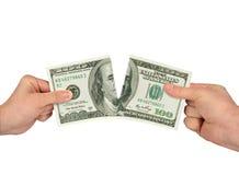 Gescheurde dollar op een witte achtergrond royalty-vrije stock afbeeldingen
