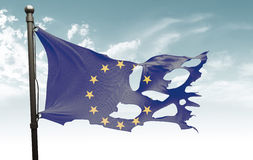 Gescheurde Europese vlag Royalty-vrije Stock Fotografie