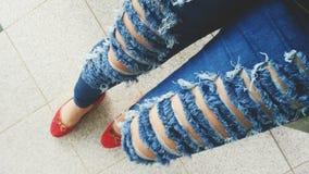 Gescheurde jeans Stock Fotografie