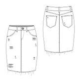 Gescheurde Midi Jean Skirt Stock Afbeelding