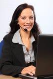 Geschäft des Kundendiensts über dem Telefon Stockfotos