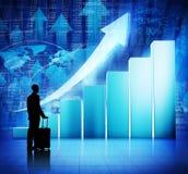 Geschäft Person Travel auf Wirtschaftsaufschwung Stockbild