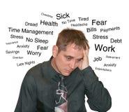 Geschäfts-Druck-Mann mit Text-Sorge Stockfoto