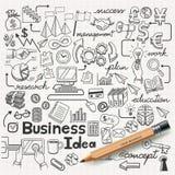 Geschäfts-Idee kritzelt die eingestellten Ikonen. Stockfotografie