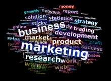Geschäfts-Marketing-Wort-Wolke, die Konzept bekanntmacht Lizenzfreie Stockfotos