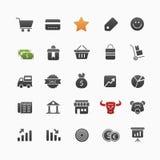 Geschäfts- und Einkaufsvektorsymbol-Ikonensatz Lizenzfreie Stockfotos