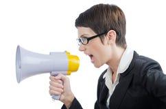 Geschäftsdame, die zum Lautsprecher schreit Stockfotografie