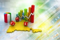 Geschäftsdiagramm mit Indien-Karte Lizenzfreie Stockfotografie