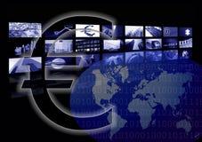 Geschäftseurozeichen, Weltkarte, mehrfacher Bildschirm Stockfoto