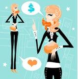 Geschäftsfrau-Arbeitsgeld-Liebeskonzept Lizenzfreies Stockfoto