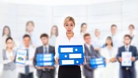 Geschäftsfrau überbelastet Stockfoto