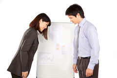 Geschäftsfrau And Businessman Greeting Lizenzfreie Stockfotografie